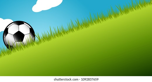 football soccer ball in green grass against a bright blue sky