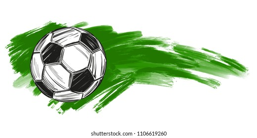 football, soccer ball, russian flag sports game, emblem sign, hand drawn vector illustration sketch.