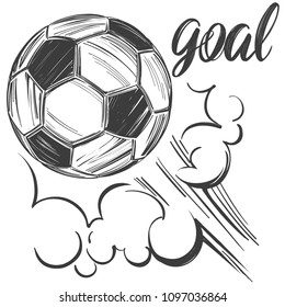 football, soccer ball, sports game, calligraphic text, emblem sign, hand drawn vector illustration sketch