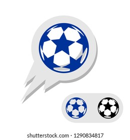 Football soccer ball with stars logo. Flying with tail. Black, white, and blue. Champions league sign like.
