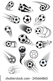 Football or soccer balls with motion trails in black and white for sporting emblems, logo and mascot design