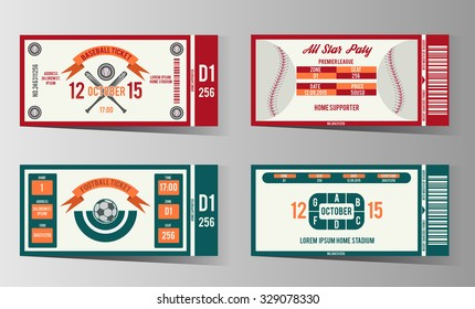 Football, soccer and Baseball ticket vector design template. Card invitation game illustration