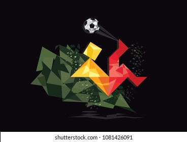 Football Soccer Bicycle-Kick Player Vector Illustration in Black Background