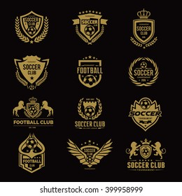 Football and soccer college Golden color Logo Set