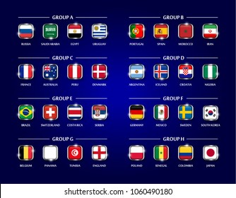 Football or Soccer cup 2018 team group set . Square glass covered design of national flag with metal edge and sparkle on blue color background . Vector for international world championship tournament