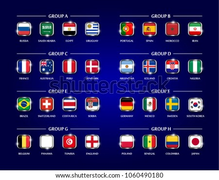 Football or Soccer cup 2018 team group set . Square glass covered design of national  flag with metal edge and sparkle on blue color background . Vector for ... 4c9cb8ccc