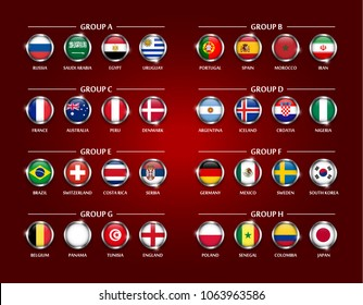 Football or Soccer cup team group set . Circle glass covered design of national flag with metal edge and sparkle . Vector for international world championship tournament 2018 .
