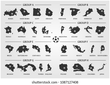 Football or Soccer cup team group set . Silhouette country map with ball . Vector for international world championship tournament 2018 .