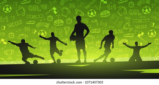 Football or Soccer design banner with hand draw doodle elements and football player silhouette. Soccer championship. Vector illustration