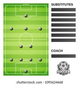 Football soccer field and formation