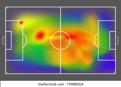 Football or soccer field with heat map for moving and location player during the game. Soccer game statistics or strategy. Vector EPS10 file format.