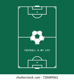 Football soccer field illustration, tee shirt graphics, vectors, football is my life typography