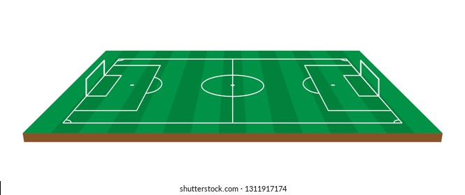 Football, Soccer field isometric vector illustration on white