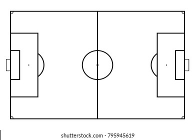 Football or soccer field. Sport background. Vector line art style.