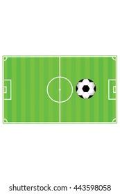 Football (soccer) field stadium with ball on green grass, vector illustration