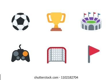 Football, soccer flat icons set. Ball, trophy cup, joy stick, stadium gate, flag vector illustration symbols, emoticons, emojis collection, pack.