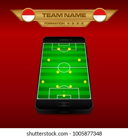 Football (Soccer) formation strategy template with perspective field on smartphone (4-2-2-2).