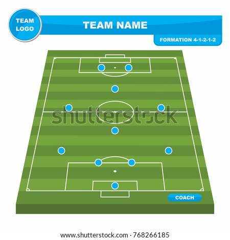 football soccer formation strategy template perspective stock vector