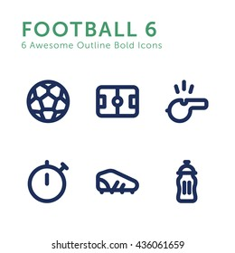 Football Soccer Game Sport Vector Mini Symbols Icons Outline Bold Set