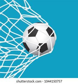 Football / Soccer Goal. Ball in Net on Blue Background. Sport Vector Illustration.