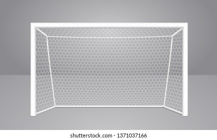 Football soccer goal realistic sports equipment. Mini football goal with shadow. Isolated on gray background. Vector illustration eps10.