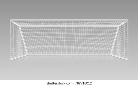Football soccer goal realistic sports equipment. Gate frame soccer or football equipment. Vector illustration