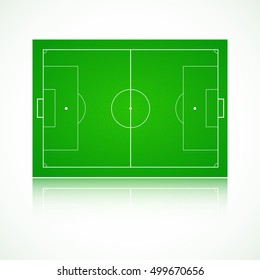 Football soccer green. Realistic  textured field. Front view with reflection and marking, easily resizable. Template for a website, mobile application, presentation or corporate identity design