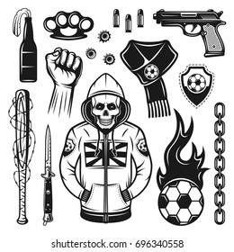 Football or soccer hooligans and bandits attributes set of vector objects and design elements in monochrome vintage style isolated on white background