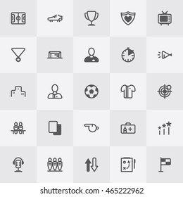 Football / Soccer Icon Set. Line Art Vector Illustration