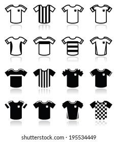 Football or soccer jerseys icons set
