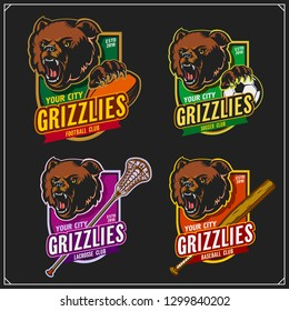 Football, soccer, lacrosse and baseball logos and labels. Sport club emblems with grizzly bear. Print design for t-shirts.