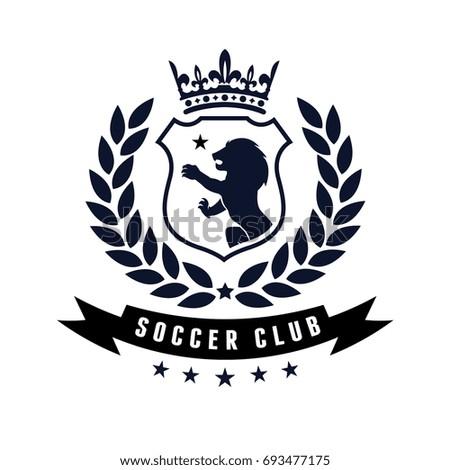 football soccer logo design template lion stock vector royalty free