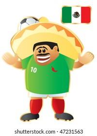 Football / soccer mascot Mexico. Vector
