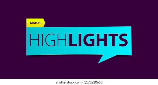 Football or Soccer match highlights banner on purple background. Sport news Banner template design. Vector illustration.