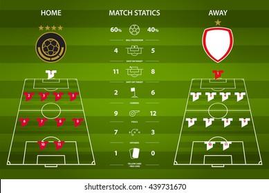 Football or soccer match statics infographic. Football formation tactic. Football logo. Flat design. Vector Illustration.