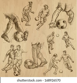 FOOTBALL - Soccer (part 1). Collection of hand drawn illustrations (originals, no tracing). Description: Each drawing comprise of two or three layers of outlines, colored background is isolated.