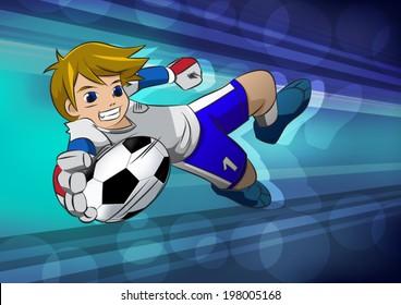 football soccer player goal cartoon