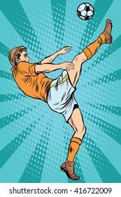 Football soccer player kick the ball