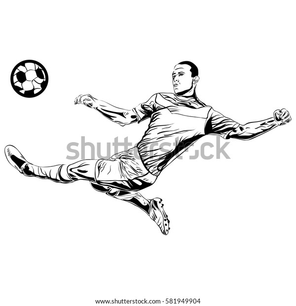 football soccer player kicking the ball sketch isolated vector illustration