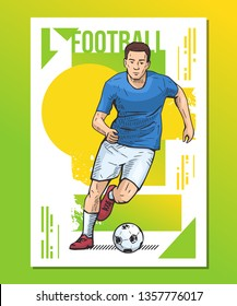 Football, soccer player on abstract background. Sport poster, print graphic design. Bright, colorful vector illustration