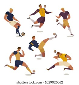 Football soccer player set of isolated characters of teammates referee and competition trophy vector illustration