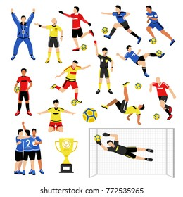 Football soccer player set of isolated faceless human characters of teammates referee and competition trophy vector illustration
