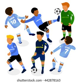 Football soccer players in action flat isometric 3d illustration.