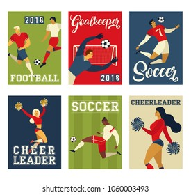 Football soccer players and cheerleaders set posters of characters vector illustration.