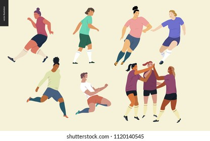 Football, soccer players set - flat vector illustration of a young women wearing football player equipment kicking a soccer ball, running or standing on the green football field