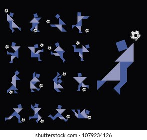 Football Soccer Players in Vector Illustration (Tangram Style)