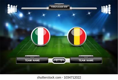 Fußball- oder Fußballspielfeld mit Infografik-Elementen. Sportspiel. Sport Cup. Vektorgrafik.