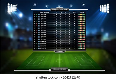 Football or soccer playing field with set of infographic elements. Sport Game. Sport Cup. Vector illustration.