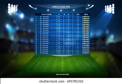 Football or soccer playing field with set of infographic elements. Sport Game. Vector illustration.