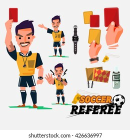 Football or Soccer Referee with card and graphic elements. character design - vector illustration